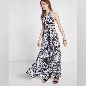 Tropical print plunge neck maxi dress